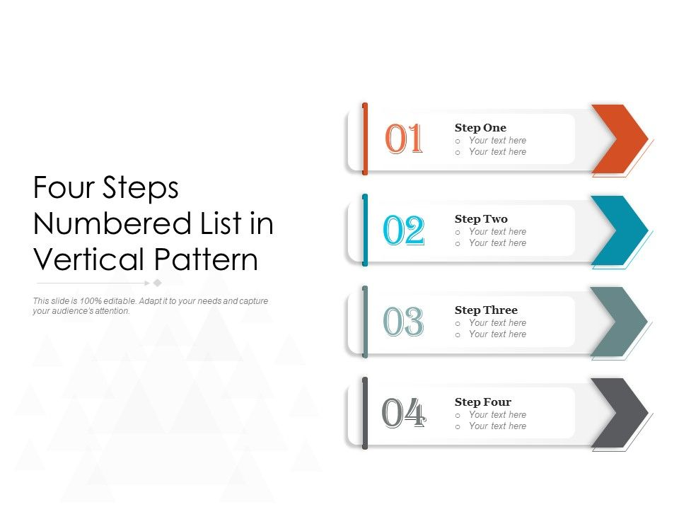 Four Steps Numbered List In Vertical Pattern