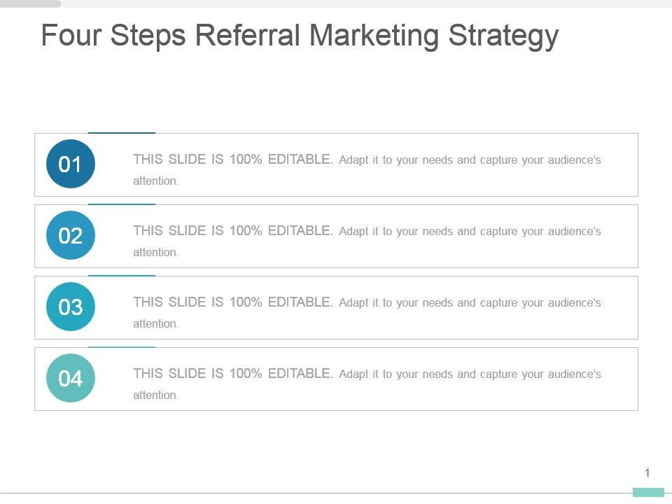 four steps referral marketing strategy presentation diagram
