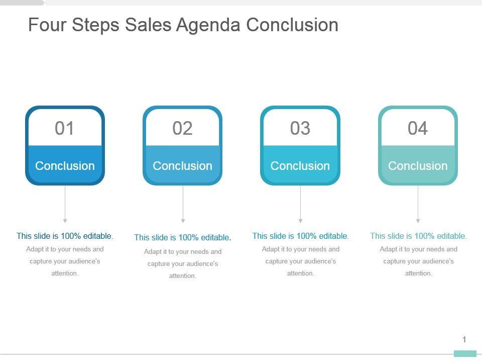Four Steps Sales Agenda Conclusion Presentation Slides