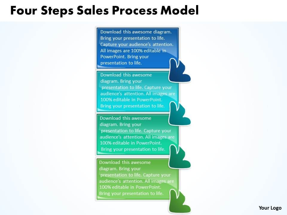 four steps sales process model flow chart template powerpoint, Presentation templates