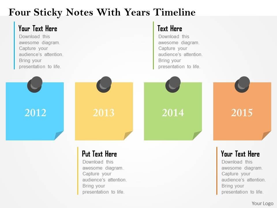 four_sticky_notes_with_years_timeline_flat_powerpoint_design_Slide01