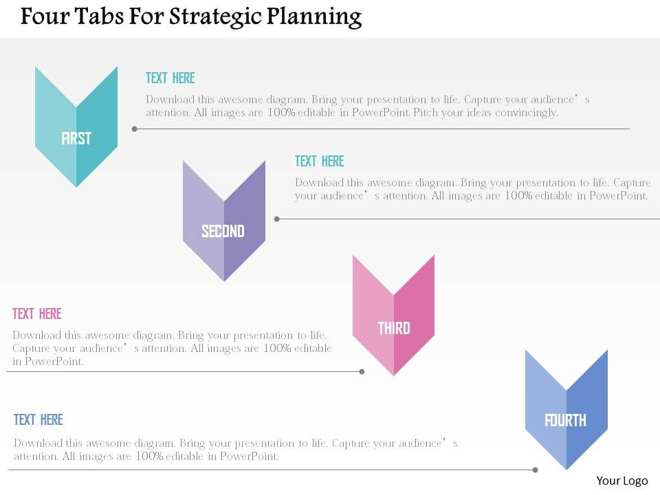 four tabs for strategic planning flat powerpoint design powerpoint