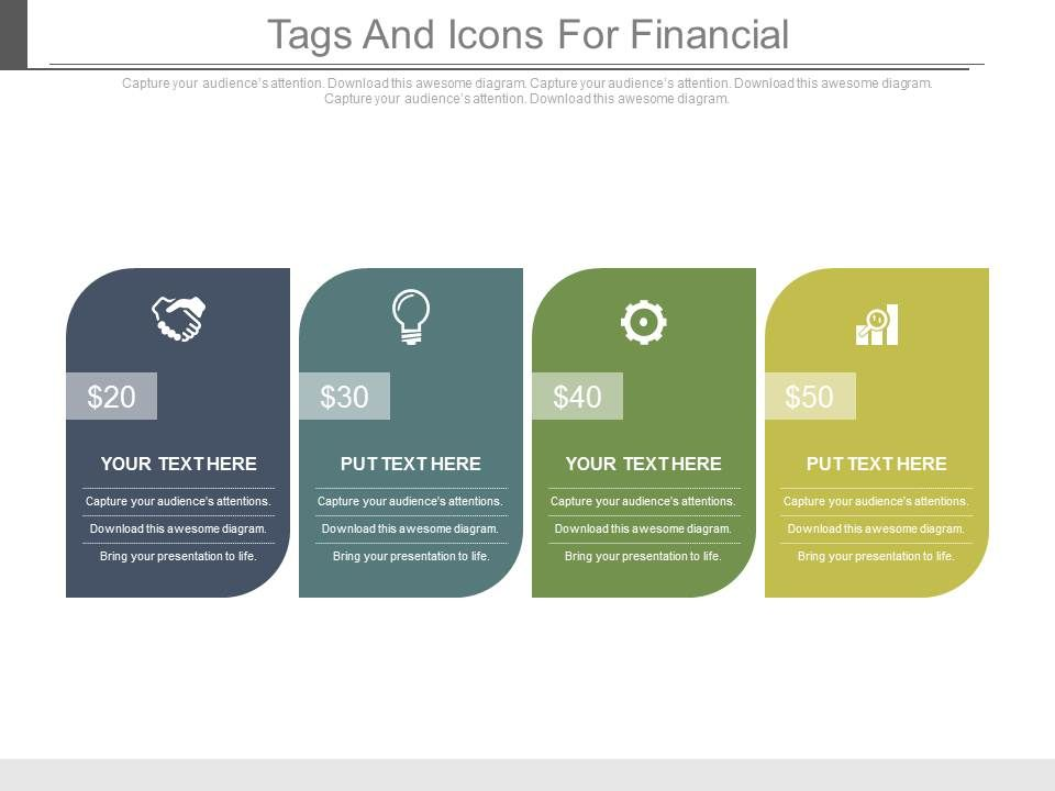 four_tags_and_icons_for_financial_update_powerpoint_slides_Slide01