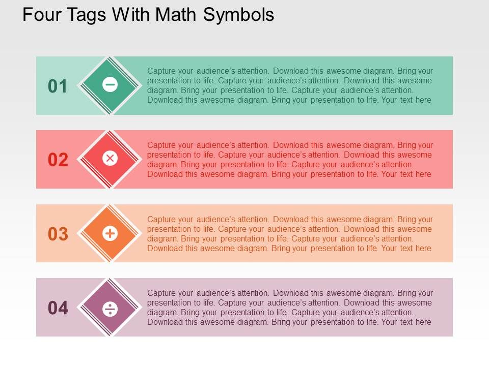 Skillfully Designed Strategy Slides showing Four Tags With Math ...