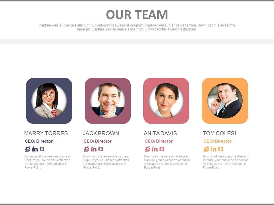four_team_members_with_profiles_powerpoint_slides_Slide01
