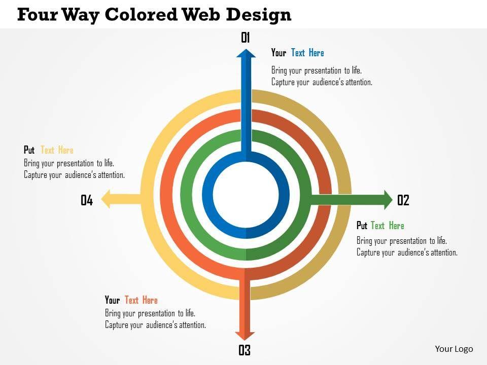four_way_colored_web_design_flat_powerpoint_design_Slide01