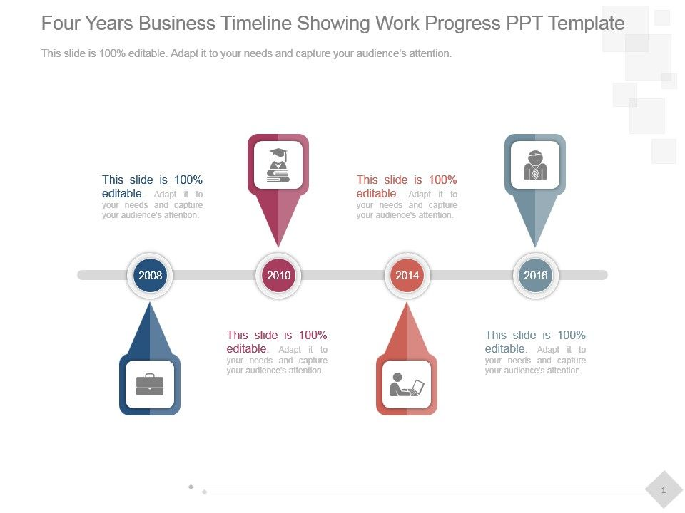 four years business timeline showing work progress ppt template