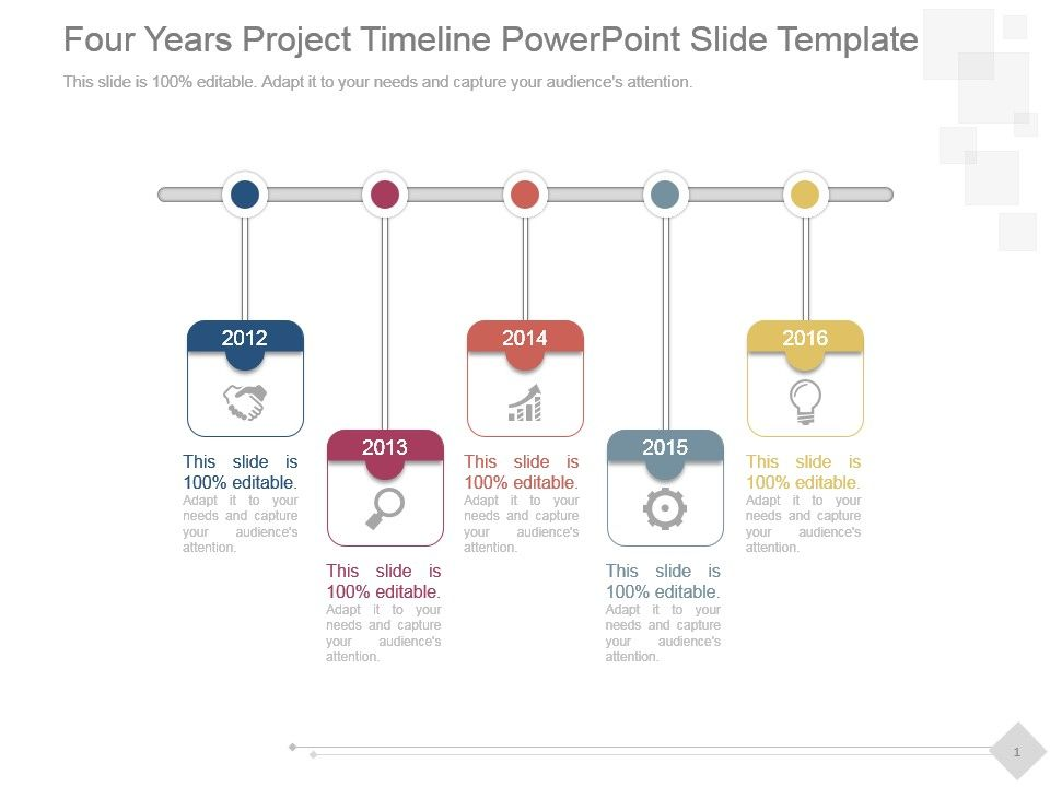four years project timeline powerpoint slide template powerpoint