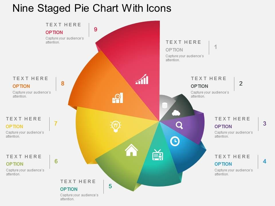 Fp Nine Staged Pie Chart With Icons Powerpoint Template Powerpoint