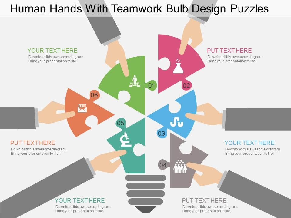 fr human hands with teamwork bulb design puzzles flat powerpoint