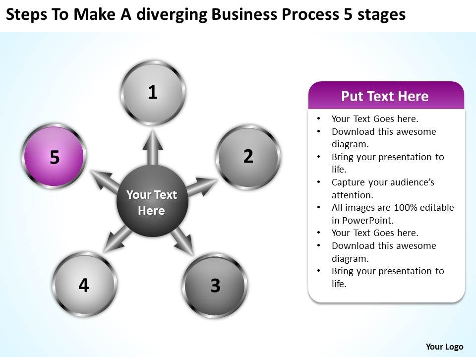 Free Business Powerpoint Templates Process 5 Stages Arrows