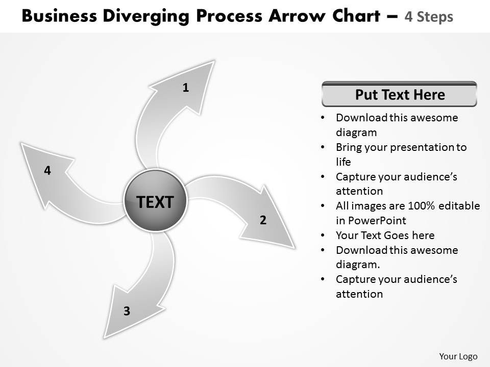 Diverging Process Arrow Chart 4 Steps Cycle Diagram Free