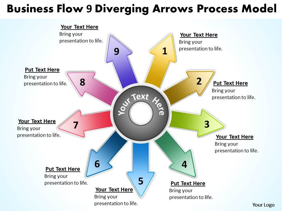 Flow 9 diverging arrows process model cycle diagram powerpoint freedownloadflow9divergingarrowsprocessmodelcyclediagrampowerpointslidesslide01 ccuart