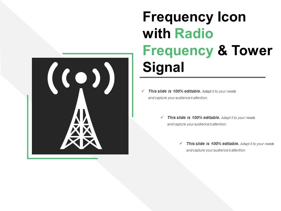Frequency Icon With Radio Frequency And Tower Signal | PowerPoint