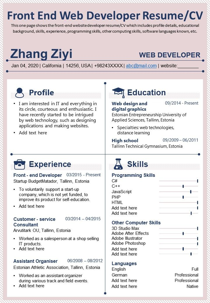 Front End Web Developer Resume CV Presentation Report Infographic PPT PDF Document