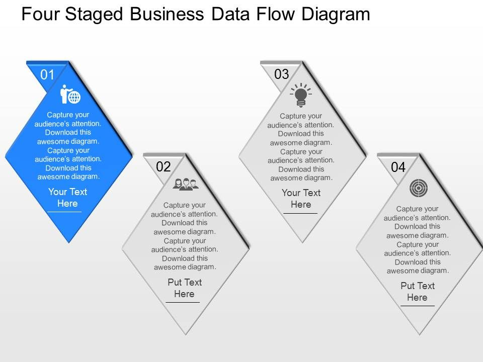 fu Four Staged Business Data Flow Diagram Powerpoint