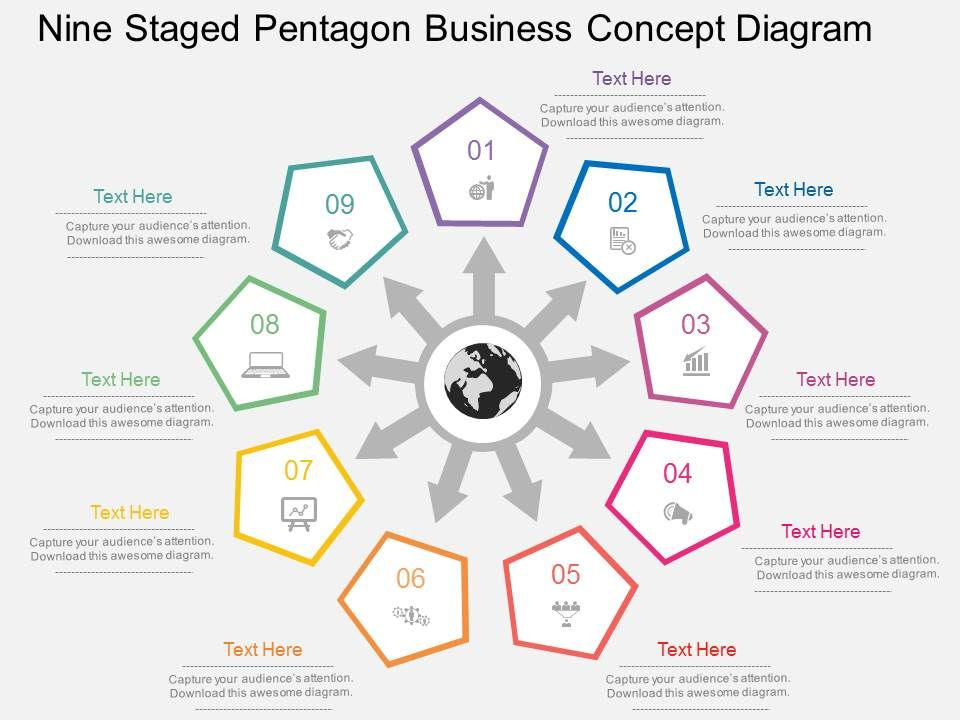 fu Nine Staged Pentagon Business Concept Diagram Flat Powerpoint ...