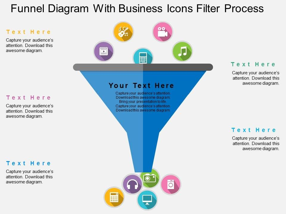 funnel diagram with business icons filter process flat. Black Bedroom Furniture Sets. Home Design Ideas