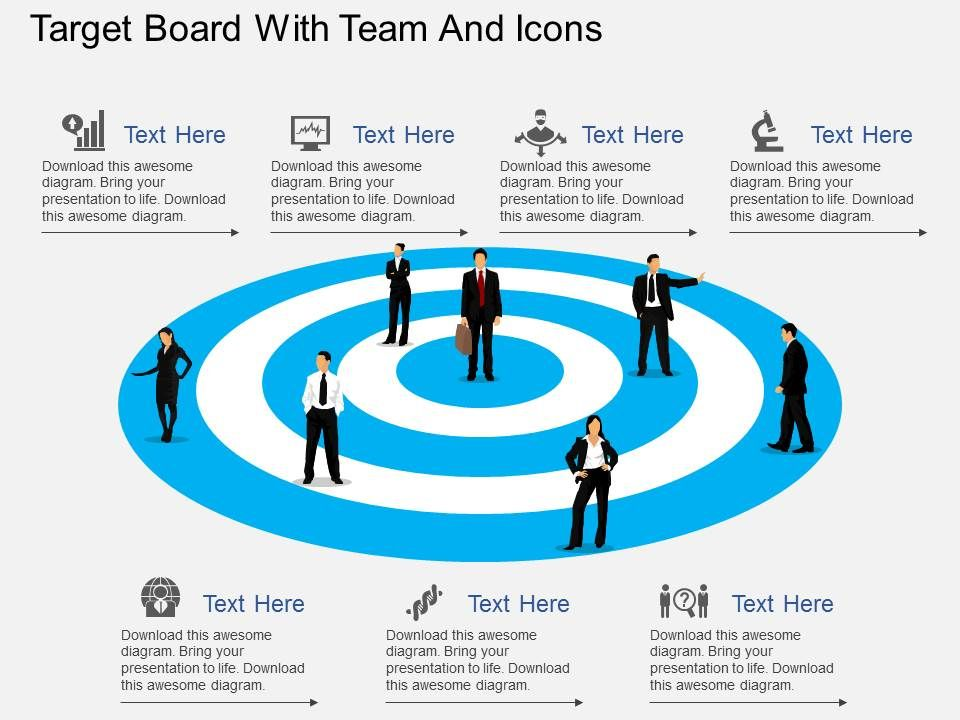 fw_target_board_with_team_and_icons_flat_powerpoint_design_Slide01