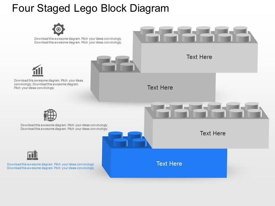 ga four staged lego block diagram powerpoint template. Black Bedroom Furniture Sets. Home Design Ideas