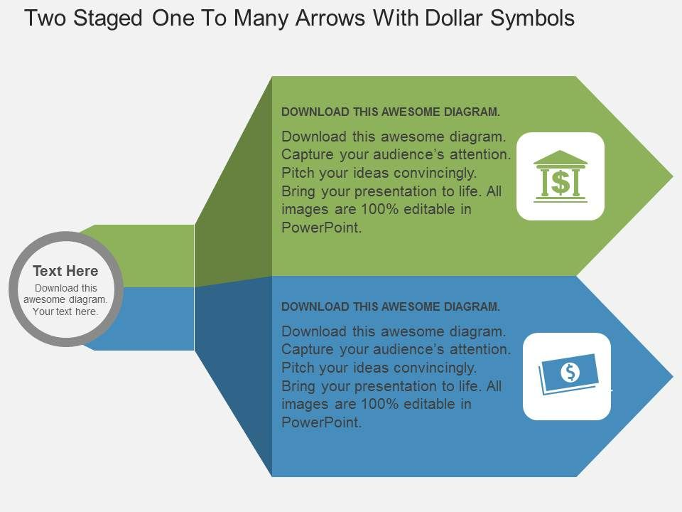 gb_two_staged_one_to_many_arrows_with_dollar_symbols_flat_powerpoint_design_Slide01