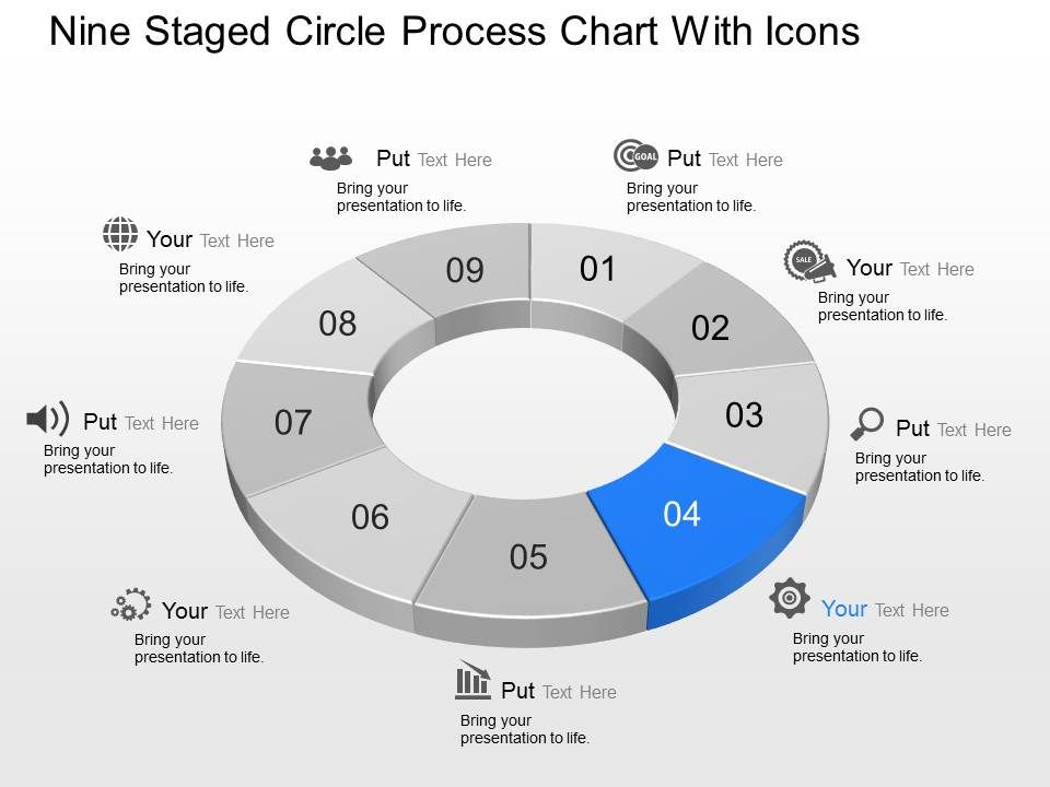 ge nine staged circle process chart with icons powerpoint template, Templates