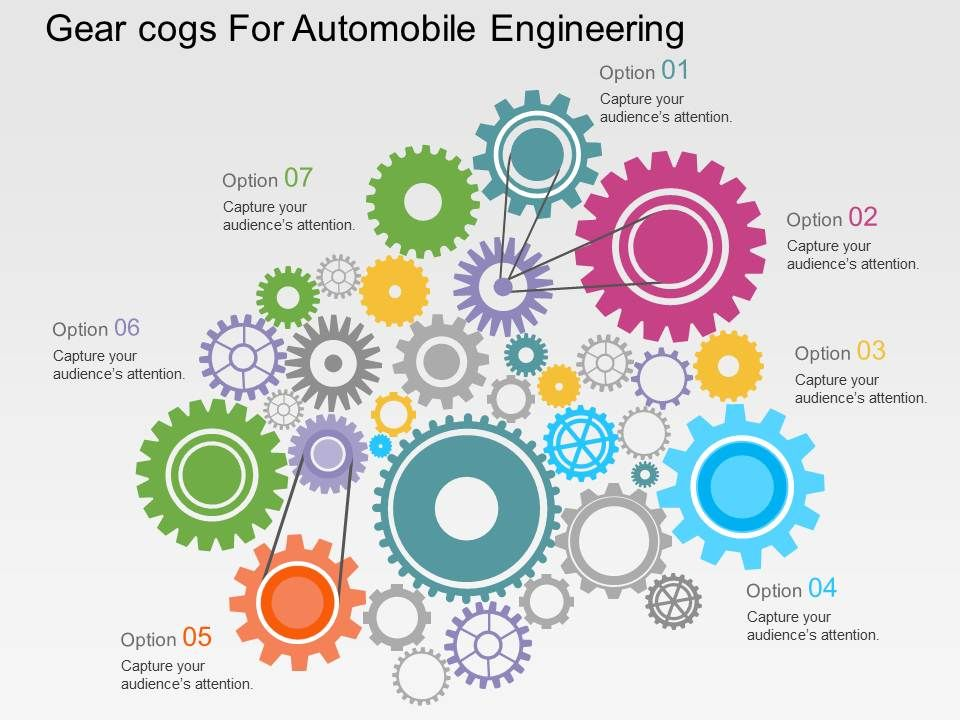 Gear Cogs For Automobile Engineering Flat Powerpoint Design