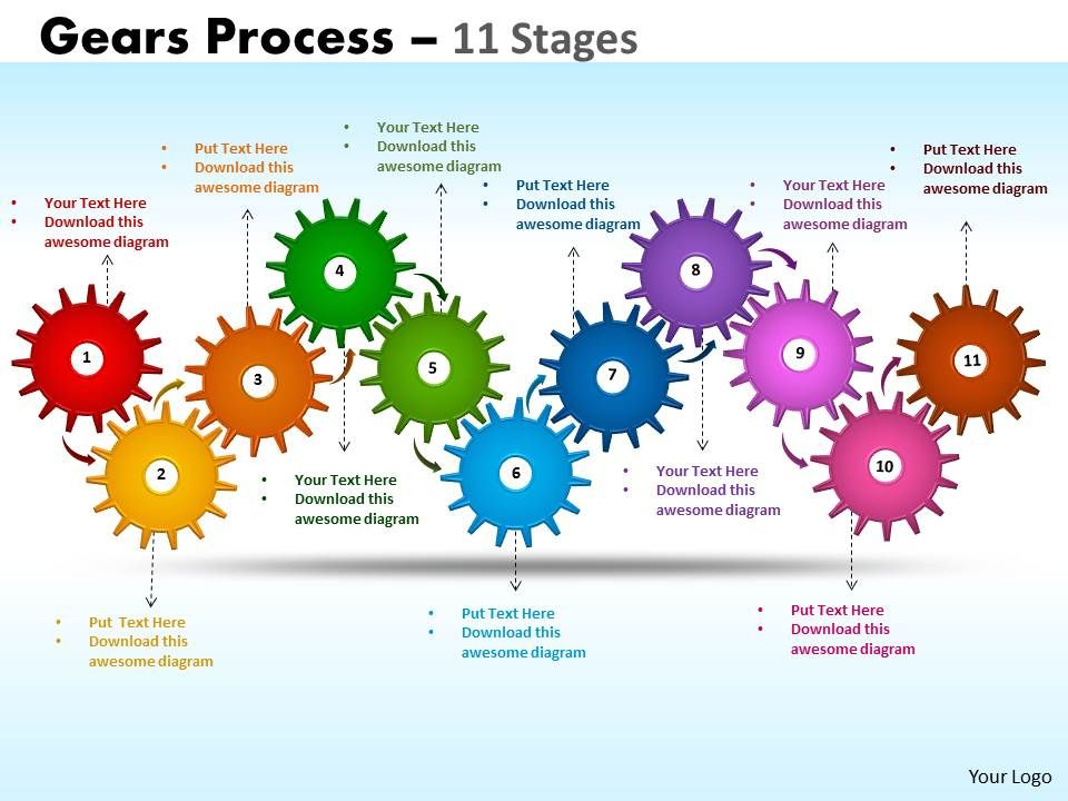 gears_process_11_stages_style_1_powerpoint_slides_Slide01