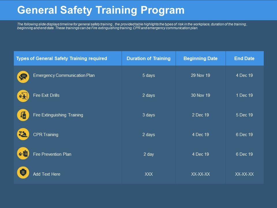 General Safety Training Program Beginning Date Ppt Powerpoint Presentation Infographics Designs