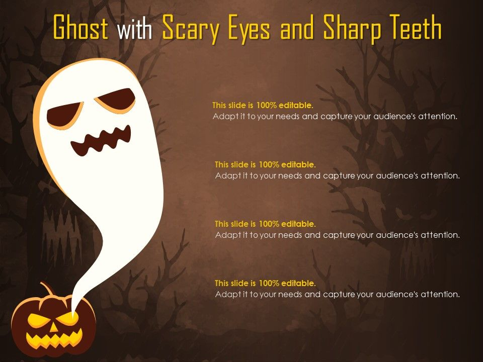 Ghost With Scary Eyes And Sharp Teeth | Presentation