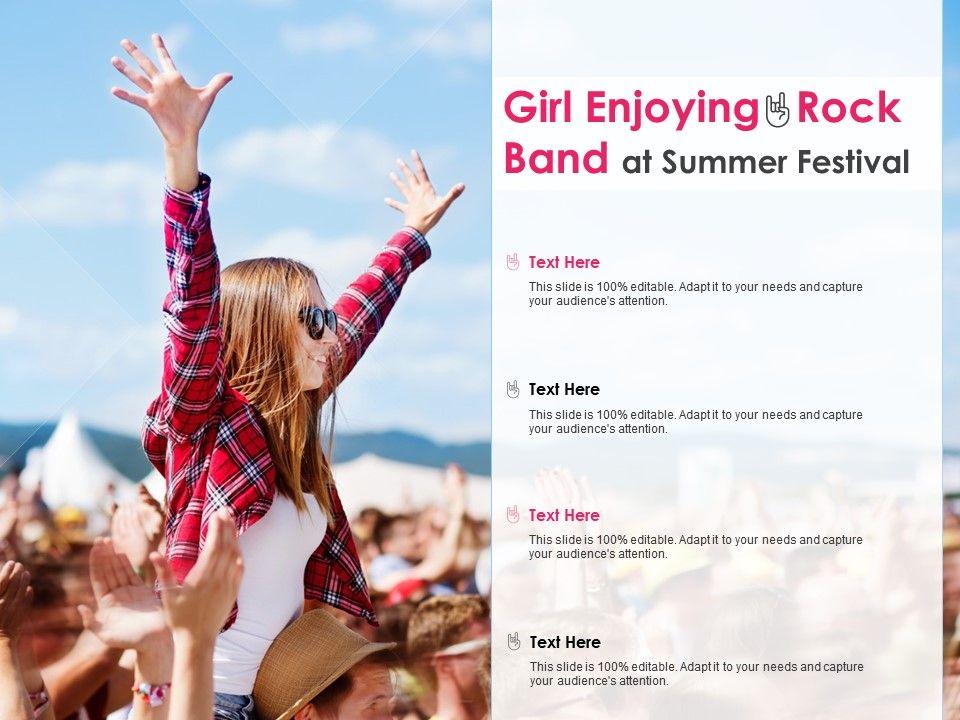 Girl Enjoying Rock Band At Summer Festival