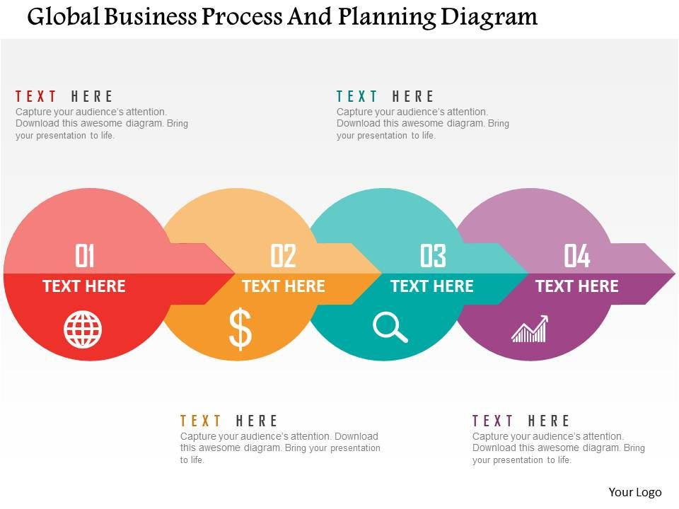 Global business process and planning diagram flat for Global design company