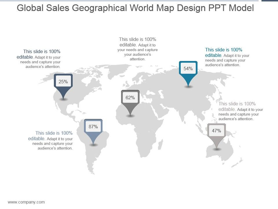 global sales geographical world map design ppt model powerpoint