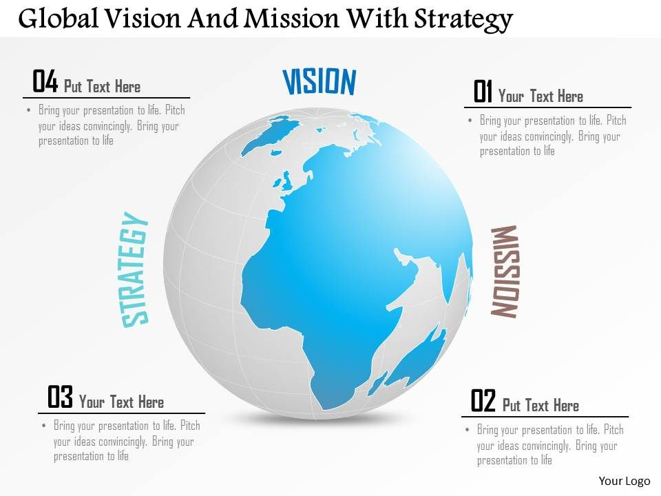 global vision and mission with strategy powerpoint template, Presentation templates