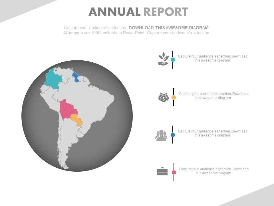 South america map for annual growth report powerpoint slides slide01