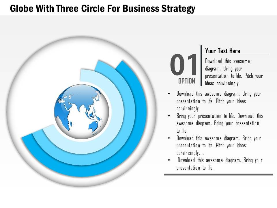 globe with three circles for business strategy ppt presentation