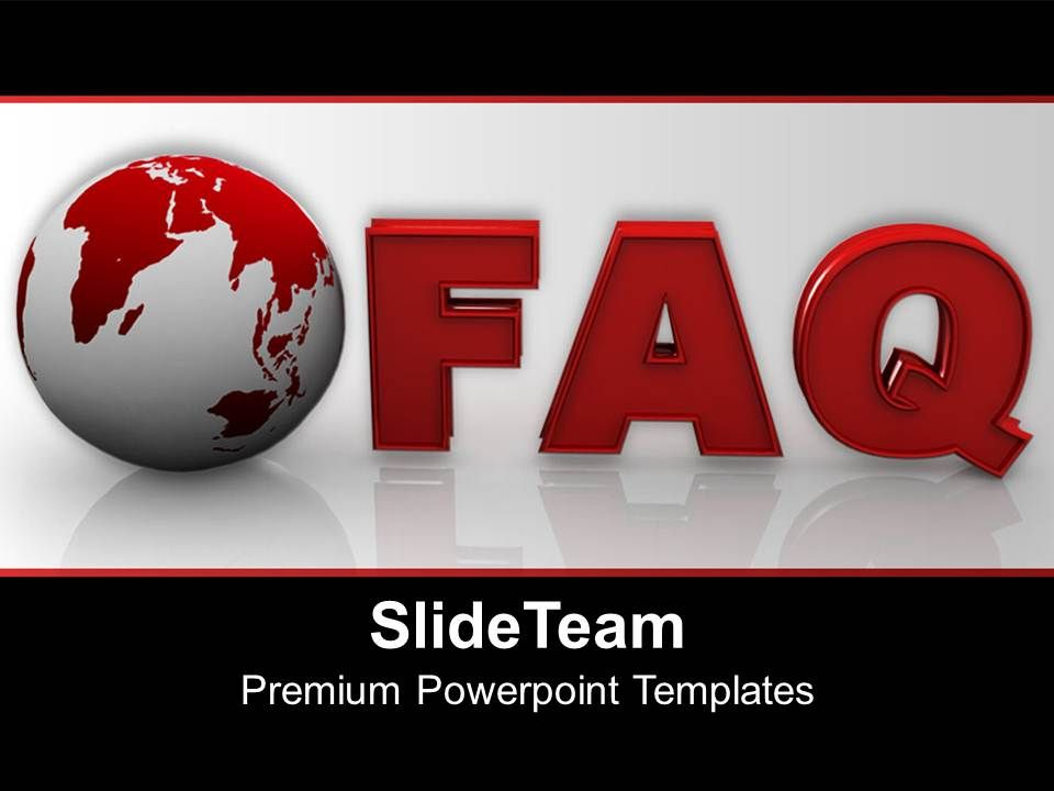 globe with word faq business powerpoint templates ppt