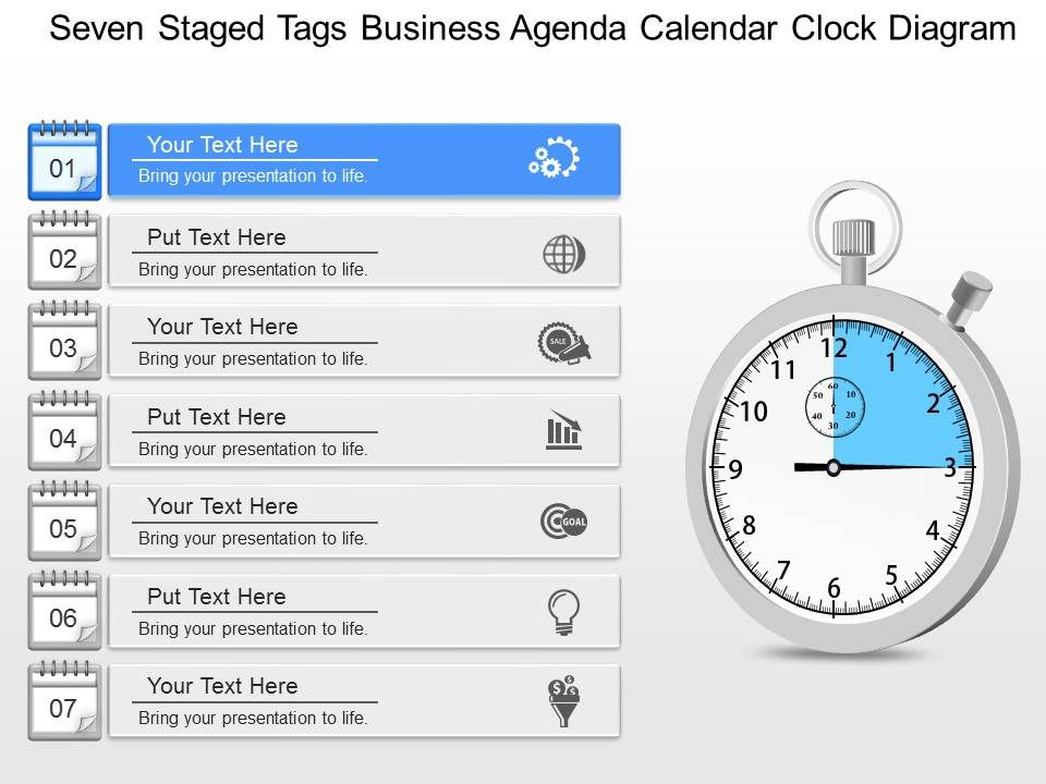 Gm Seven Staged Tags Business Agenda Calendar Clock Diagram