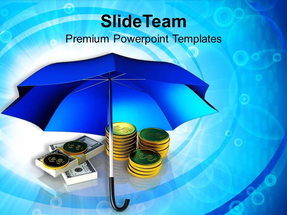 golden_coins_and_banknotes_under_umbrella_powerpoint_templates_ppt_themes_and_graphics_Slide01