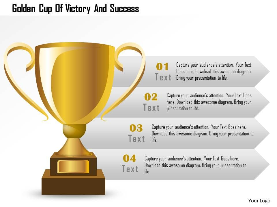 golden cup of victory and success powerpoint template | powerpoint, Presentation templates