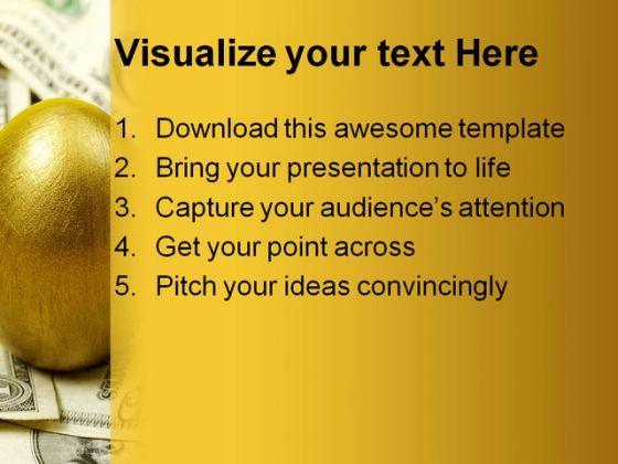 golden egg money powerpoint template 0610 | powerpoint templates, Presentation templates