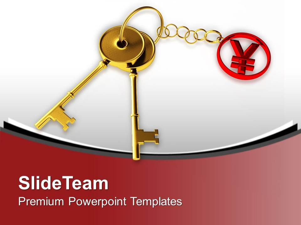 golden key tied to yen japan currency powerpoint templates ppt, Modern powerpoint