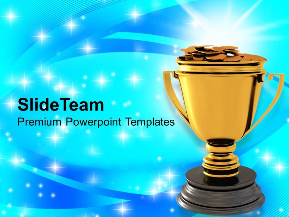 golden trophy with dollar coins reward winner powerpoint templates, Modern powerpoint