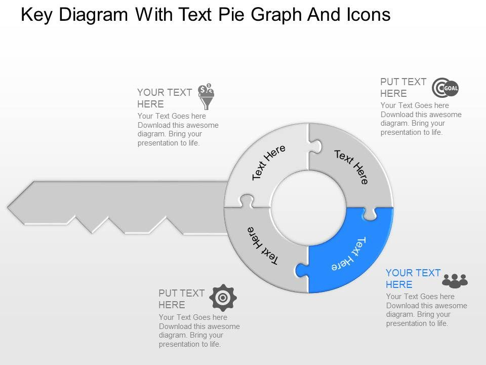 Gq Key Diagram With Text Pie Graph And Icons Powerpoint