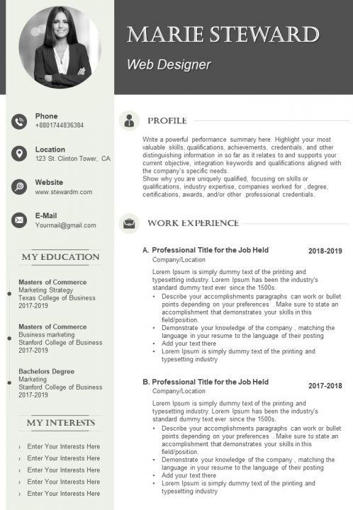 Graphic Designer Cv Example Template Templates Powerpoint Presentation Slides Template Ppt Slides Presentation Graphics