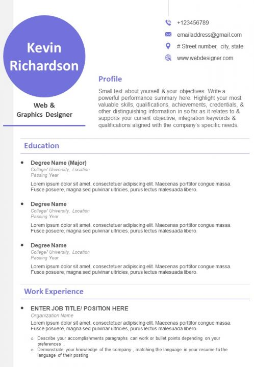 Graphic Designer Resume Example With Profile Details Powerpoint Slide Images Ppt Design Templates Presentation Visual Aids