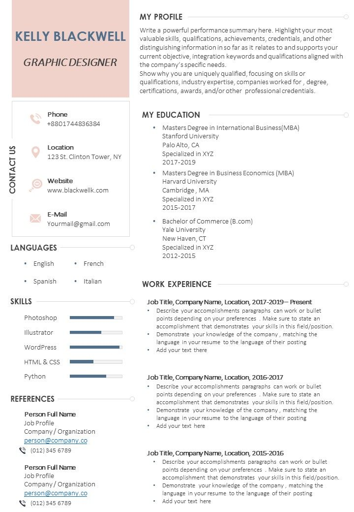 Graphic Designer Resume Sample Format Templates Powerpoint