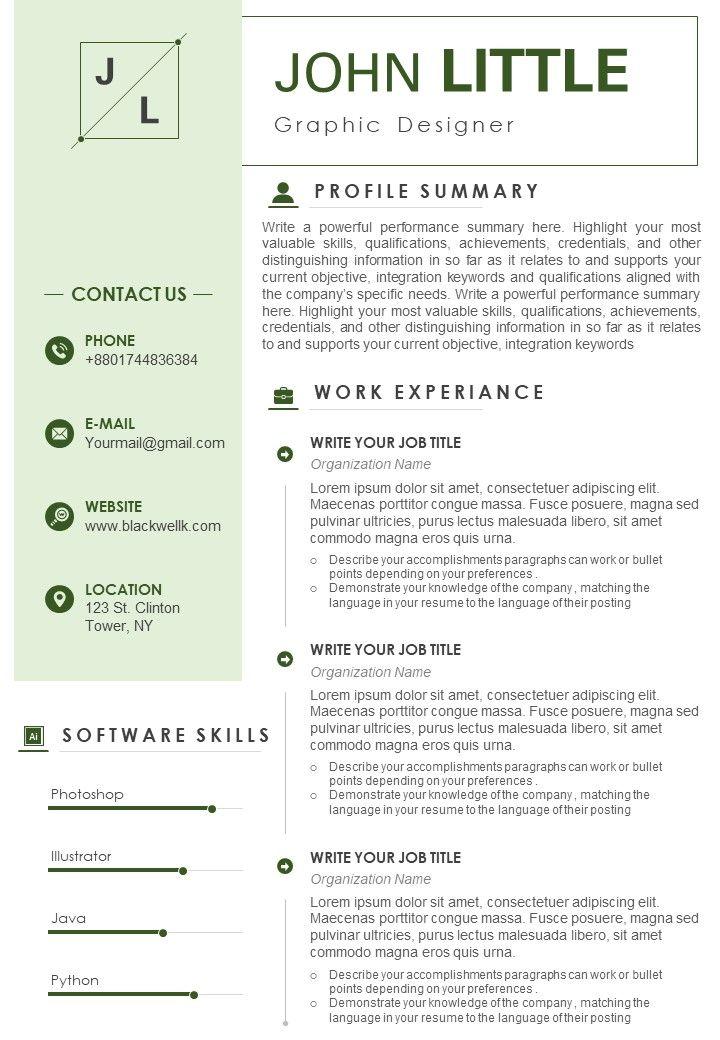 Graphic Designer Resume Sample With Software Skills Template Presentation Sample Of Ppt Presentation Presentation Background Images