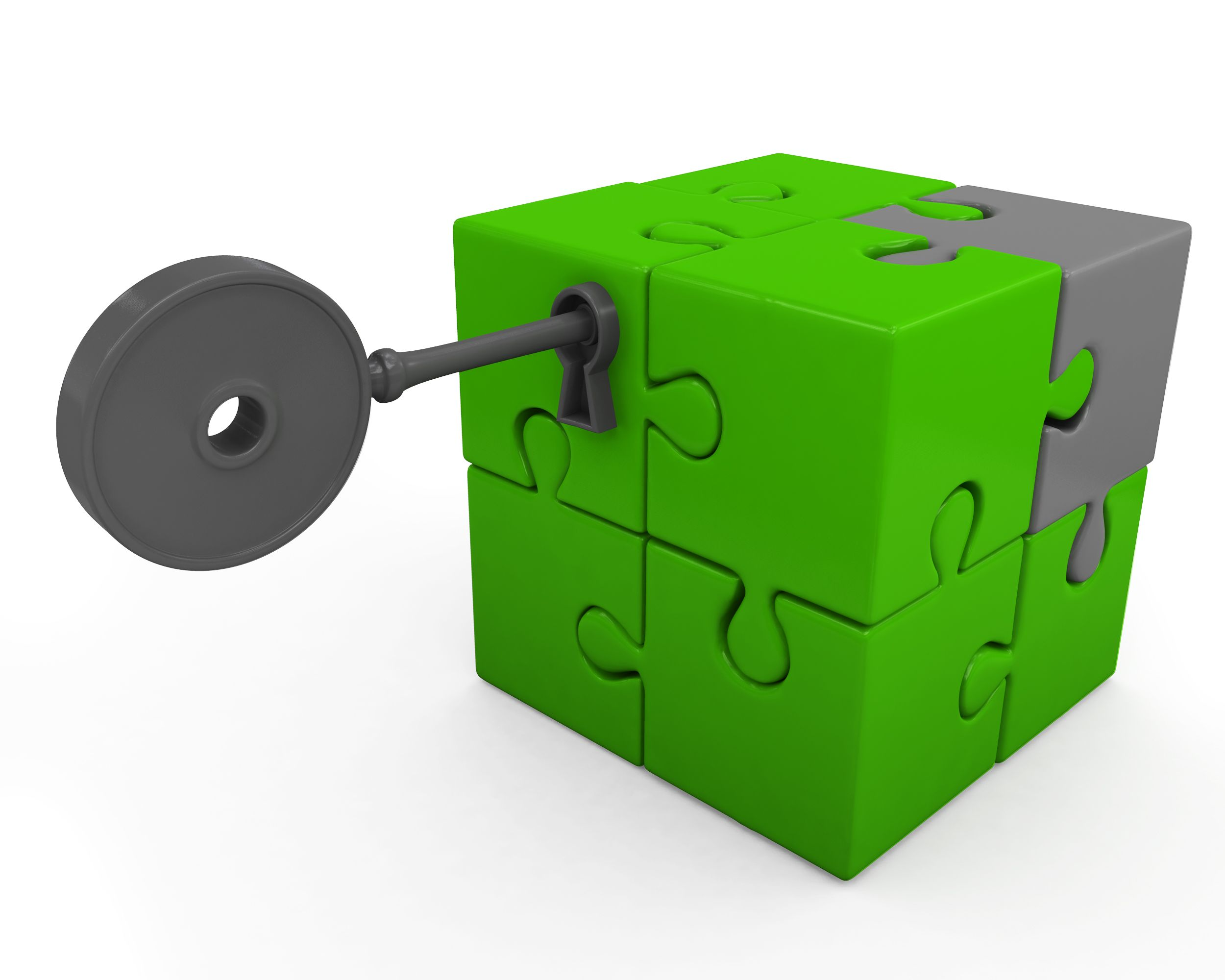 elegant shoes low cost where can i buy Green Cube Made Of Puzzles With Key For Security Stock Photo ...