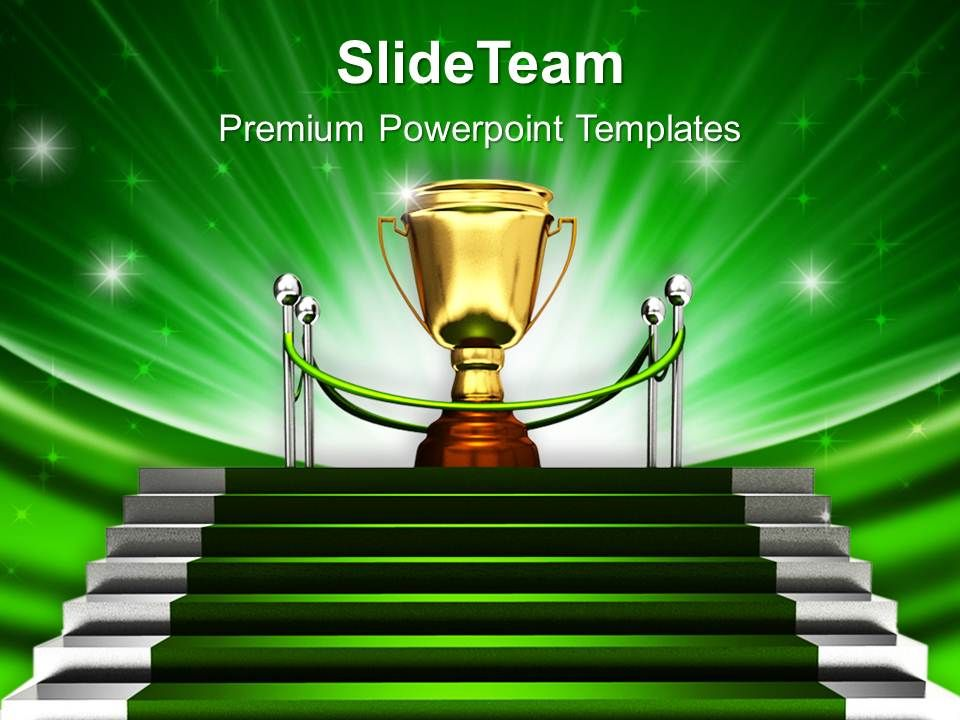 Green Stairway To Trophy Powerpoint